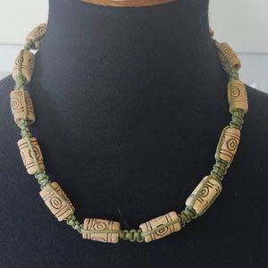 3/$40 Cork and Green Jute Necklace
